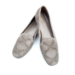 Sesto Meucci Taupe Silver Leather Italian Loafers